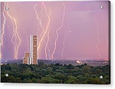 Electric Night - Cityplex Towers - Tulsa Oklahoma Acrylic Print
