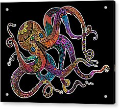 Electric Octopus On Black Acrylic Print