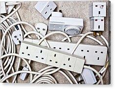 Electric Plugs Acrylic Print by Tom Gowanlock