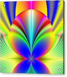 Electric Rainbow Orb Fractal Acrylic Print by Rose Santuci-Sofranko