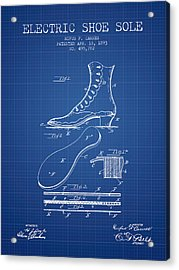 Electric Shoe Sole Patent From 1893 - Blueprint Acrylic Print