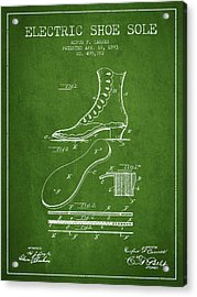 Electric Shoe Sole Patent From 1893 - Green Acrylic Print