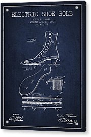 Electric Shoe Sole Patent From 1893 - Navy Blue Acrylic Print