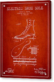 Electric Shoe Sole Patent From 1893 - Red Acrylic Print