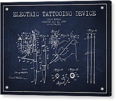 Electric Tattooing Device Patent From 1929 - Navy Blue Acrylic Print by Aged Pixel