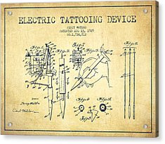 Electric Tattooing Device Patent From 1929 - Vintage Acrylic Print by Aged Pixel