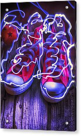 Electric Tennis Shoes  Acrylic Print by Garry Gay