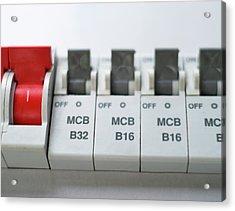 Electrical Circuit Breakers Acrylic Print by Robert Brook