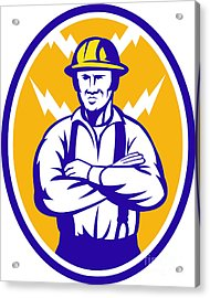 Electrician Construction Worker Lightning Bolt Acrylic Print by Aloysius Patrimonio