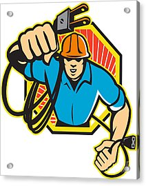 Electrician Construction Worker Retro Acrylic Print by Aloysius Patrimonio