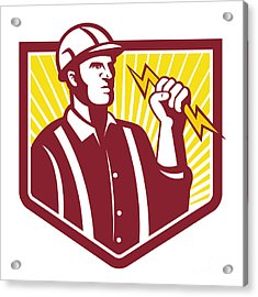 Electrician Holding Lightning Bolt Retro Acrylic Print by Aloysius Patrimonio