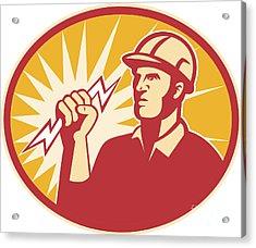 Electrician Power Line Worker Lightning Bolt Acrylic Print by Aloysius Patrimonio