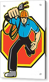 Electrician Worker Running Electrical Plug Acrylic Print by Aloysius Patrimonio