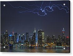 Electrifying New York City Acrylic Print by Susan Candelario