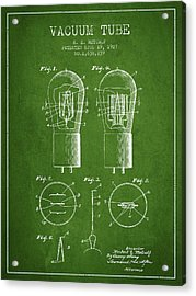 Electrode Vacuum Tube Patent From 1927 - Green Acrylic Print