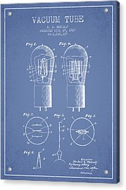Electrode Vacuum Tube Patent From 1927 - Light Blue Acrylic Print