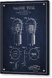Electrode Vacuum Tube Patent From 1927 - Navy Blue Acrylic Print
