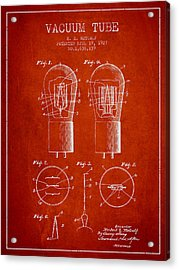 Electrode Vacuum Tube Patent From 1927 - Red Acrylic Print