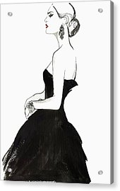 Elegant Haughty Woman Wearing Strapless Acrylic Print by Jessica Durrant