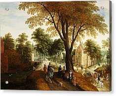 Elegant Horsemen And Figures On A Path In Front Of A Chateau Acrylic Print by Sebastian Vrancx
