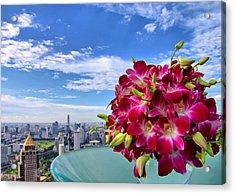 Elegant Orchids Acrylic Print by Suradej Chuephanich