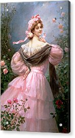 Elegant Woman In A Rose Garden Acrylic Print by Felix Hippolyte-Lucas