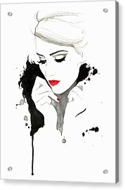 Elegant Woman Wearing Red Lipstick And Acrylic Print