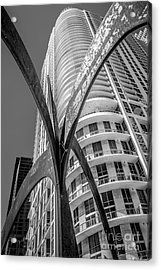 Element Of Duenos Do Los Estrellas Statue With Miami Downtown In Background - Black And White Acrylic Print