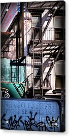 Elemental City - Fire Escape Graffiti Brownstone Acrylic Print by Miriam Danar