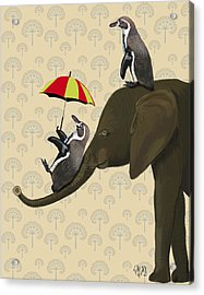 Elephant And Penguins Acrylic Print by Kelly McLaughlan