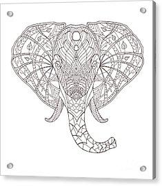 Elephant. Black And White Hand Drawn Acrylic Print