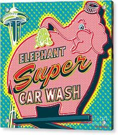 Elephant Car Wash And Space Needle - Seattle Acrylic Print