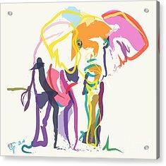 Elephant In Color Ecru Acrylic Print by Go Van Kampen