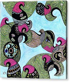 Elephant Lotus And Bird Design Acrylic Print by Mukta Gupta