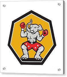Elephant Mascot Boxer Cartoon Acrylic Print by Aloysius Patrimonio