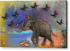 Elephant Painting Birds Out Of Thin Air. Acrylic Print by Marvin Blaine