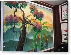 Elephant Painting - Maesa Elephant Camp - Chiang Mai Thailand - 01134 Acrylic Print by DC Photographer