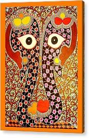 Elephant Pair-madhubani Paintings Acrylic Print