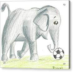 Elephant Playing Soccer Acrylic Print by Raquel Chaupiz