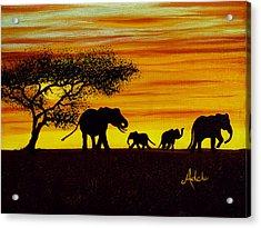 Elephant Silhouette Acrylic Print by Adele Moscaritolo