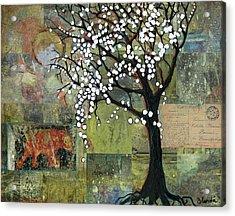 Elephant Under A Tree Acrylic Print by Blenda Studio
