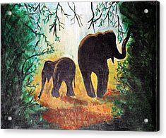 Elephants At Night Acrylic Print by Saranya Haridasan