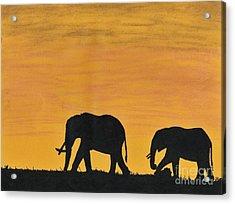 Elephants - At - Sunset Acrylic Print by D Hackett