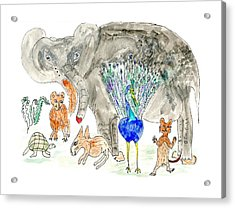 Elephoot And Friends Acrylic Print by Helen Holden-Gladsky