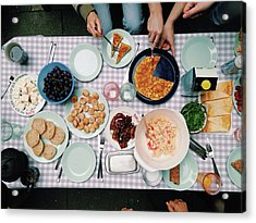 Elevated View Of A Variety Of Meals Acrylic Print by Kirsty Lee / Eyeem