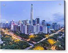 Elevated View Of Shenzhen Skyline Acrylic Print by Liao Xun