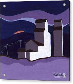 Acrylic Print featuring the painting Elevators At Night by Joyce Gebauer