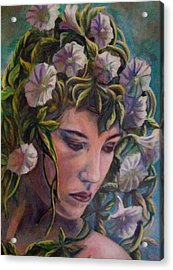 Acrylic Print featuring the painting Elf Dreams by Suzanne Silvir