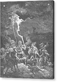 Elijah Destroys The Messengers Of Ahaziah Acrylic Print by Gustave Dore