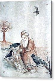 Elijah Fed By Ravens Acrylic Print by Cati Simon